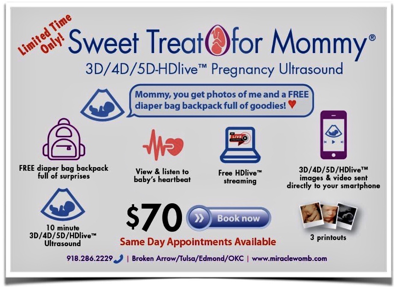3d 4d 5d HD Elective Pregnancy sweet treat for mommy Ultrasound